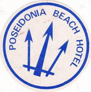CYPRUS POSEIDONIA BEACH HOTEL VINTAGE LUGGAGE LABEL