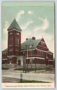 New Albany Indiana~Vincennes & Shelby Street School~Men in Black on Corner~1908