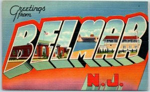 Vintage BELMAR New Jersey Large Letter Postcard Tichnor Linen 64642 1940s Unused