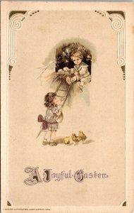 Postcard Joyful Easter Ducklings Children - Ladder - John Winsch Card