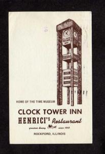 IL Clock Tower Inn Restaurant Henrici's Rockford Illinois Postcard Museum Time
