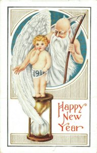 Happy New Year Embossed Angel Postcard 03.75