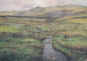 Whernside Viaduct Yorkshire Giant Painting Postcard