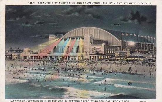 New Jersey Atlantic City Atlantic City Auditorium And Convention Hall By Night