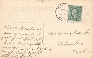 Schuyler Nebraska~High School~Girls in Doorway~Uncle Willy Hudson Six~1920s RPPC
