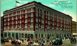 1923 Cumberland, Maryland Postcard FORT CUMBERLAND HOTEL Downtown Street View