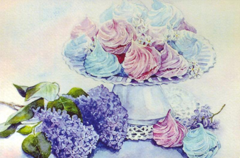 Marshmallows sweets and Lilac Russian Unposted Modern Postcard
