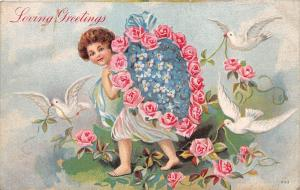 C25/ Valentine's Day Love Holiday Postcard c1910 Cupid Doves Flowers 11