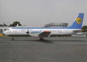 UZBEKISTAN AIRWAYS, IL-114-100, unused Postcard
