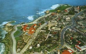 La Jolla CA California San Diego Aerial View Coastline c1961 Vintage Postcard D2