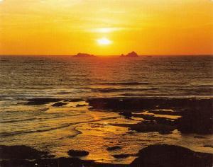 Cornwall Postcard, Sunset Quies Rocks, between Treyarnon & Constantine Bays S32