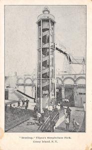 New York City~Coney Island~Dewdrop: Spiral Tower Slide Ride~Man With Dog~1904 PC