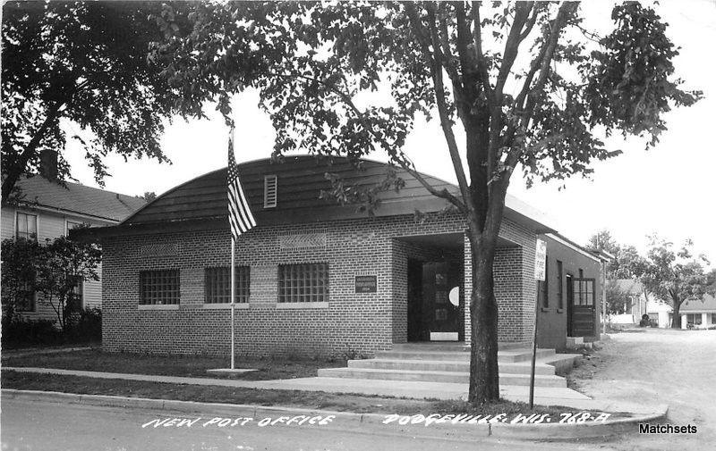 1958 DODGEVILLE WISCONSIN RPPC New Post Office RPPC postcard 9461