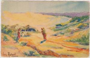 L. Randavel Watercolo, Les Nomades, Algerie, Nomads in the Desert, Algeria,...