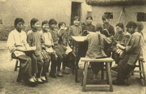 china, Some Chinese Orphans joining the Class (1920s) Mission Postcard