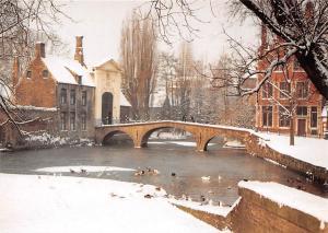 Belgium Brugge Entrance to the Princely Beguinage Winter Bridge
