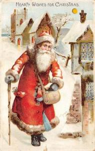 Hold To Light Santa Claus Postcard Old Vintage Christmas Post Card Hearty Wis...
