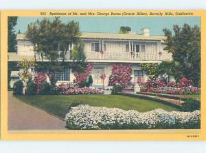 Unused Linen HOME OF ACTOR GEORGE BURNS Beverly Hills - Los Angeles CA d0846