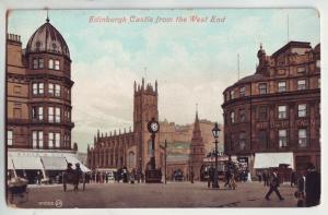 P886 valentines card eidinburg castle west end horse & wagons people etc the uk