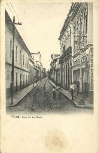 brazil, PARÁ, Rua 13 de Maio, Street Scene with Tramway and Shop (1899)
