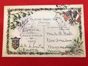 1919 Postcard WWI K of C On Active Service Soldiers Mail from FRANCE censored