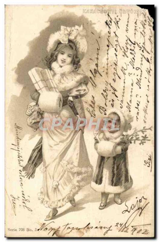 Fantaisie - Femme - Mother and child frolicking on winter day (carte hongroise H