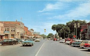 Gaylord Michigan~Street Scene~Storefronts~Road Signs~Als Drugs~50s Cars~Postcard