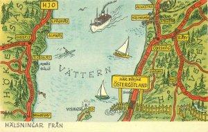 Halsningar Fran Ostergotland Sweden Map Attractions Postcard 20-4560