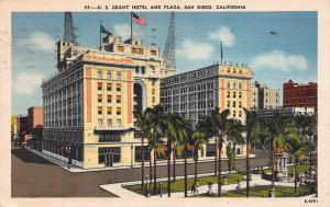 U.S. Grant Hotel and Plaza, San Diego, California, Early Postcard, Used in 1945