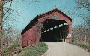 near Raccoon, IN, Cornstalk Covered Bridge, Chrome Vintage Postcard g9133
