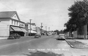 St Joseph MN Storefronts Old Cars in 1959 Real Photo Postcard