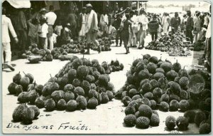 Vintage Asia RPPC Real Photo Postcard Market / Street Scene Durian Fruits