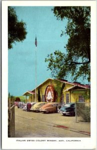 Vintage 1950s ASTI, California Postcard Italian Swiss Colony Winery Cool Cars!