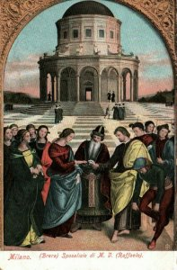 Milan Italy Marriage of the Virgin Painting By Raphael Vintage Postcard