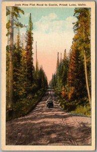 1930s PRIEST LAKE, Idaho Postcard Jack Pine Flat Road to Coolin Leonard Paul