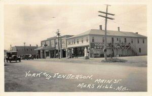 Mars Hill ME Main Street York & Fenderson Store gas Station Real Photo Postcard