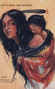 Artist Peterson : Indian Portrait  White Swan & Papoose   , 00-10s
