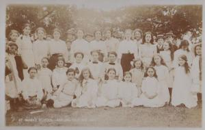 St Marys Girls School Nottingham Outing Antique Real Photo Postcard