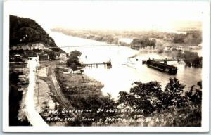Marquette, Iowa RPPC Real Photo Postcard Bridges Mississippi River 1936 Cancel