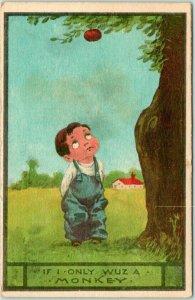 1913 Artist-Signed WALL Comic Postcard Boy / Apple If Only I Wuz a Monkey
