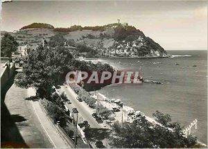 Postcard Modern San Sebastian Miramar Royal Palace and Mount Igueldo