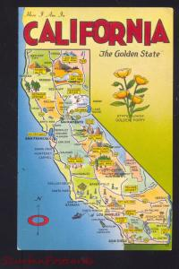 STATE OF CALIFORNIA MAP VINTAGE POSTCARD THE GOLDEN STATE