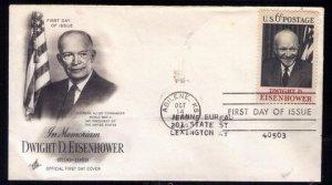 1969 US Sc #1383 FDC Dwight D.Eisenhower Good Condition.