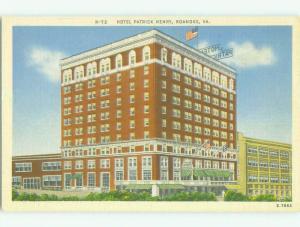 Unused Linen PATRICK HENRY HOTEL Roanoke Virginia VA hr7321