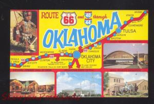 ROUTE 66 OKLAHOMA MAP INDIAN RESTAURANT ROADSIDE POSTCARD