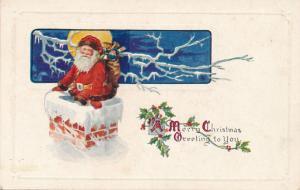 Merry Christmas Greetings - Santa entering Chimney - DB