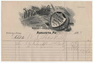 1892-4 Billhead, B. F. PARROTT & CO., Flour. Corn Meal, Oats, Augusta. Maine