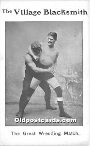 Old Vintage Wrestling Postcard Post Card The Village Blacksmith, The Great Wr...
