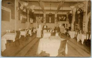 1910s RPPC Real Photo Postcard RESTAURANT INTERIOR Waiters - Location Unknown