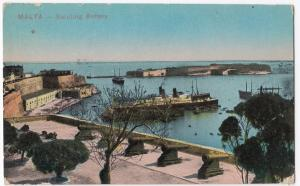 Malta; Saluting Battery,  Valetta PPC, View of Grand Harbour, Unposted, c 1910's